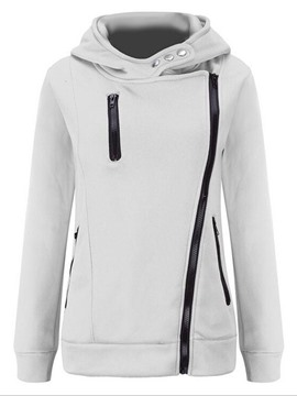 Ericdress Slim Plain Zipper Cool Hoodie