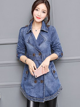 Ericdress Slim Mid-Length Double-Breasted Denim Jacket