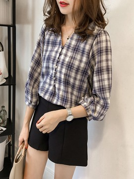 Ericdress V-Neck Plaid Lantern Sleeve Blouse