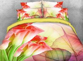 Vivilinen 3D Orangered Calla Lily and Leaves Printed 4-Piece Bedding Sets/Duvet Covers
