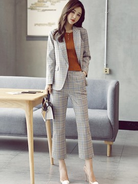 Ericdress Plaid Blazer and Ankle Length Pants Women's Fashion Suit