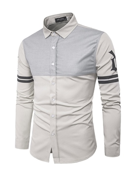 Ericdress Lapel Patchwork Color Block Men's Casual Shirt