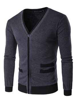 Ericdress V-Neck Zipper Color Block Men's Cardigan Sweater