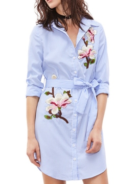 Ericdress Embroidery Bowknot Lace-Up Shirt Casual Dress