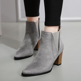 Ericdress Pointed Toe Slip-On Plain High Heel Boots