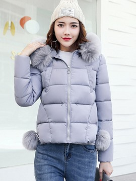 Ericdress Plain Zipper Standard Fur Collar Down Coat