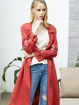 Ericdress mid-length Blumenstickerei Trenchcoat