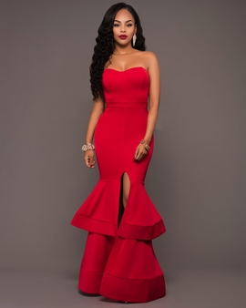 Ericdress Sweetheart Split-Front Tiered Floor-Length Mermaid Evening Dress
