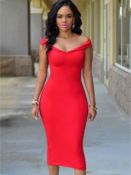 Ericdress off-the-shoulder mid-calf plain bodycon kleid