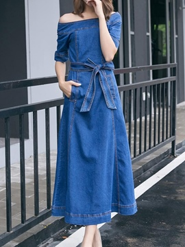 Eridress Slash Neck Lace-Up Pocket Denim Maxi Dress