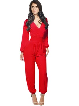 Ericdress V-Neck Pleated Long Sleeve Jumpsuits Pants