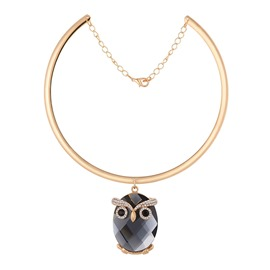 Ericdress Chic Owl Pendant Choker Necklace for Women