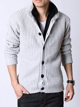 Ericdress Stand Collar Single-Breasted Men's Cardigan Sweater