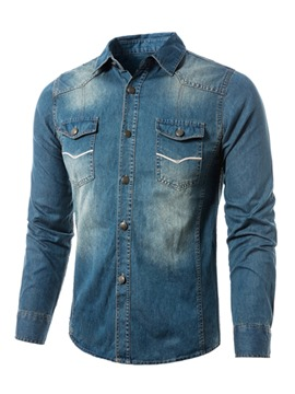 Ericdress Lapel Slim Long Sleeve Men's Denim Shirt
