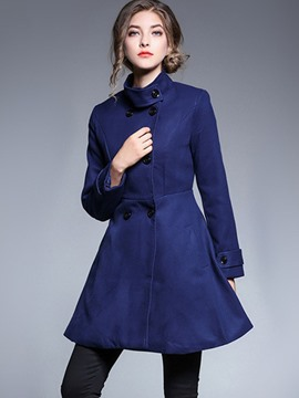 Ericdress Slim Plain Mid-Length Stand Collar Coat