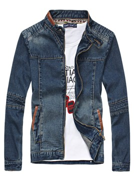 Ericdress Stand Collar Slim Men's Denim Jacket