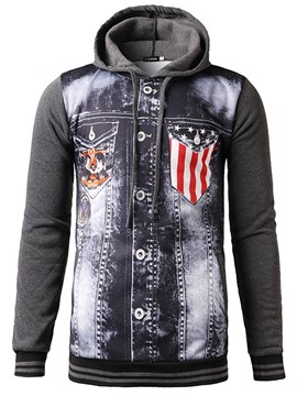 Ericdress Hooded Zipper Patchwork Men's Hoodie