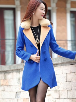 Ericdress Slim Mid-Length Double-Breasted Coat