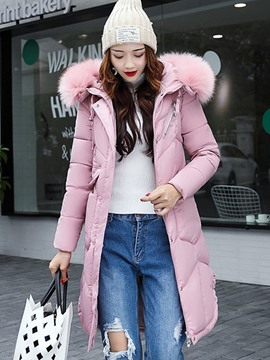 Ericdress Plain Zipper Fur Collar Down Coat