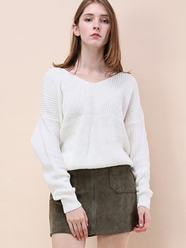 Ericdress V-Neck Plain Pullover Pleated Knitwear