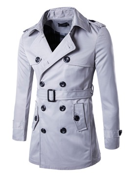 Ericdress Double-Breasted Plain Lapel Belt Vogue Slim Men's Trench Coat