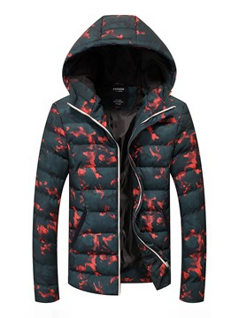 Ericdress Hooded Print Zipper Men's Down Coat