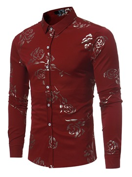 Ericdress Long Sleeve England Style Print Men's Shirt