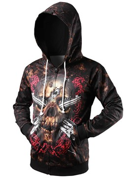 Ericdress Hooded Print Zipper Men's Hoodie