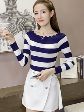 Ericdress Stripe Slim Pullover Short Knitwear