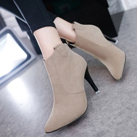 Ericdress Popular Pointed Toe Plain High Heel Boots