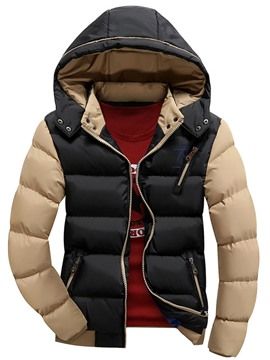 Ericdress Hooded Patchwork Zipper Men's Winter Coat