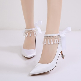 Ericdress Sweet Lace-Up Plain Women's Wedding Shoes with Beads