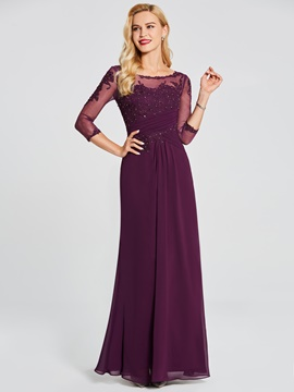Ericdress 3/4 Sleeve Lace Applique A Line Long Evening Dress