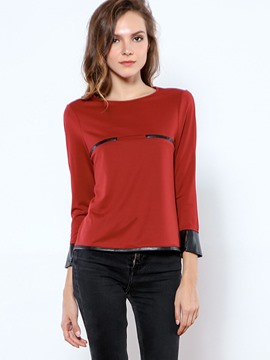 Ericdress Straight Patchwork Flare Sleeve T-shirt