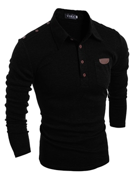 Ericdress Lapel Patchwork Slim Long Sleeve Men's T-Shirt