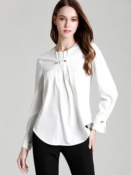 Ericdress Loose Plain Bead Blouse