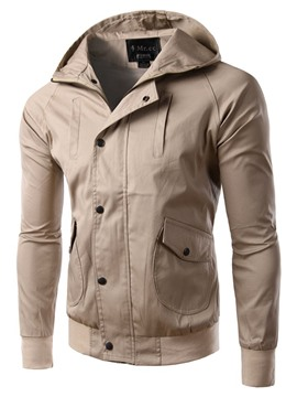 Ericdress Hooded Solid Color Slim Men's Jacket
