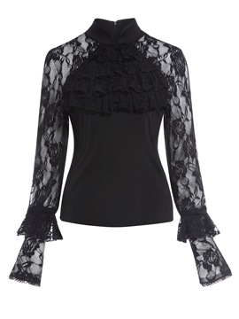 Ericdress stand collar lace see-through bluse