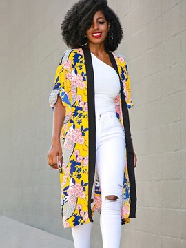 Ericdress Long Print Plant Wrapped Trench Coat