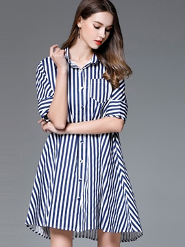 Ericdrss Vertical Striped Polo Neck A-Line Shirt Dress