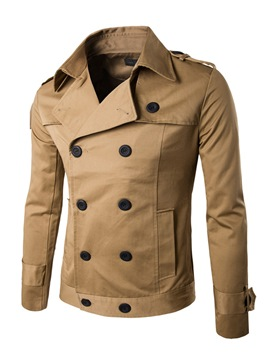 Ericdress Plain Double-Breasted Lapel Slim Men's Jacket