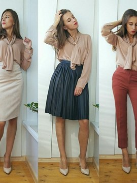 Ericdress Solid Color Beads Chiffon Blouse