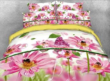Vivilinen Pink Daisy and Music Notes Printed 4-Piece 3D Bedding Sets/Duvet Covers