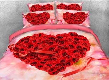 Vivilinen 3D Heart-shaped Red Roses and Ribbon Printed 4-Piece Bedding Sets/Duvet Covers