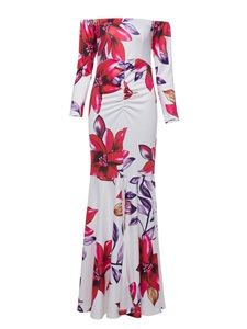 Ericdress Slash Neck Flower Print Backless Maxi Dress