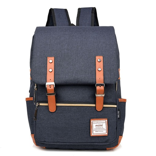 Ericdress Belt-Decorated Patchwork Design Canvas Backpack