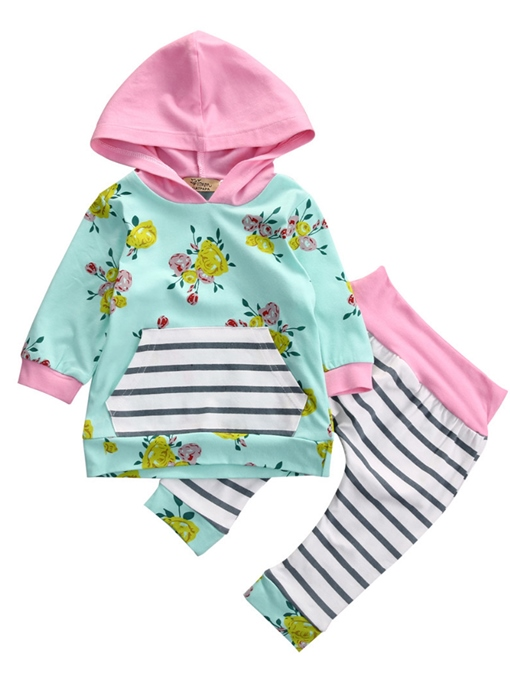 Ericdress Floral Patchwork Hoodie And Stripe Pant Baby Girls Clothing Set