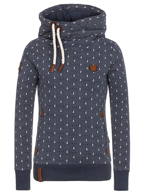 Ericdress Print Turtleneck Slim Cool Hoodie