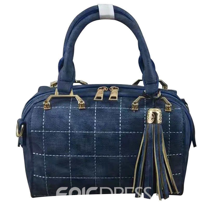 Ericdress Korean Style Plaid Pattern Tassel Handbag