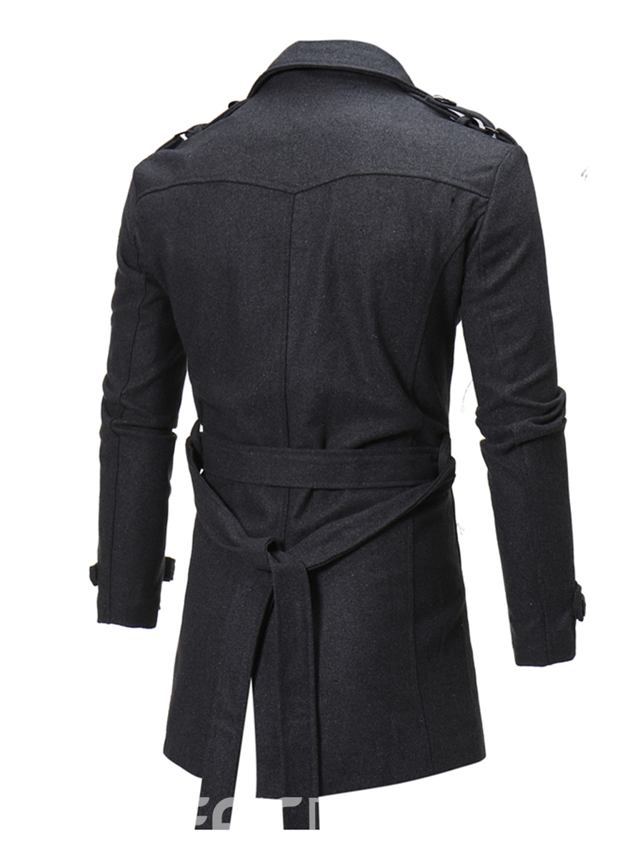 Ericdress Notched Lapel Slim Solid Color Men's Trench Coat